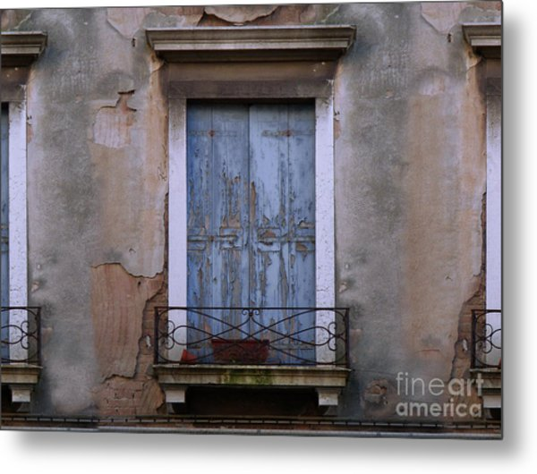 Venice Blue Shutters Horizontal Photo Metal Print