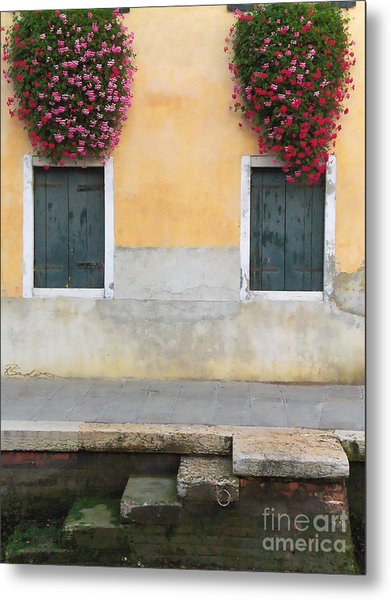 Venice Canal Shutters With Window Flowers Metal Print