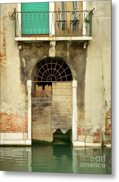 Venice Italy Boat Room Shutters Metal Print