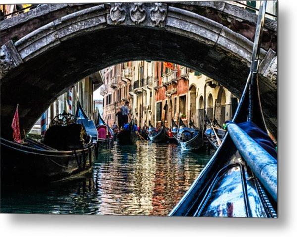 Venice Italy Gondola - Ride Through Canal Metal Print