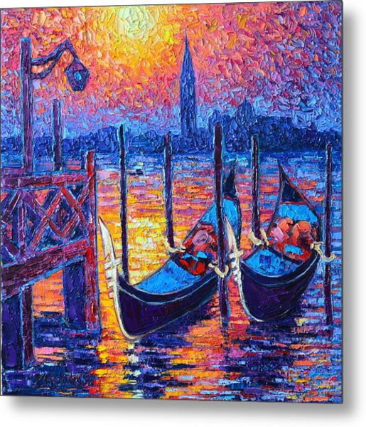 Venice Mysterious Light - Gondolas And San Giorgio Maggiore Seen From Plaza San Marco Metal Print