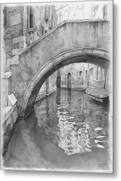Metal Print featuring the drawing Venice Mmix- IIi by Denis Chernov