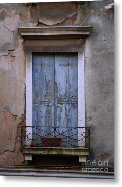Venice Square Blue Shutters Metal Print