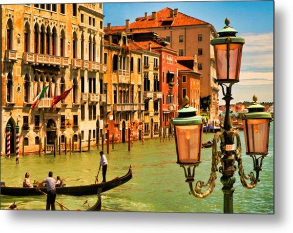 Venice Street Lamp Metal Print