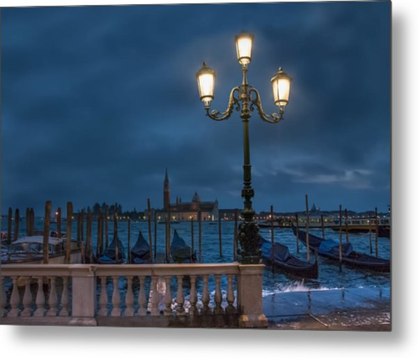 Venice Streetlight Metal Print
