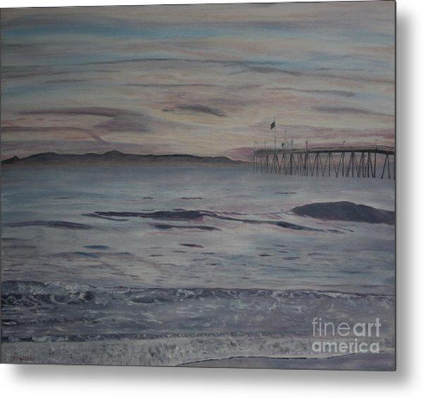 Ventura Pier High Surf Metal Print