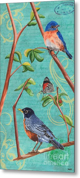 Verdigris Songbirds 1 Metal Print