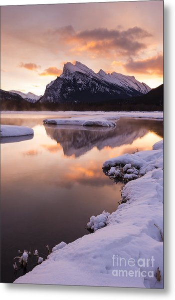 Vermillion Lakes In Banff National Park Metal Print by Ginevre Smith