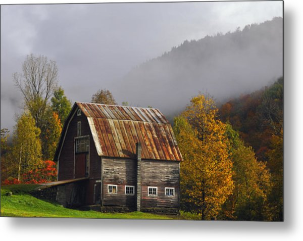 Vermont Autumn Barn Metal Print