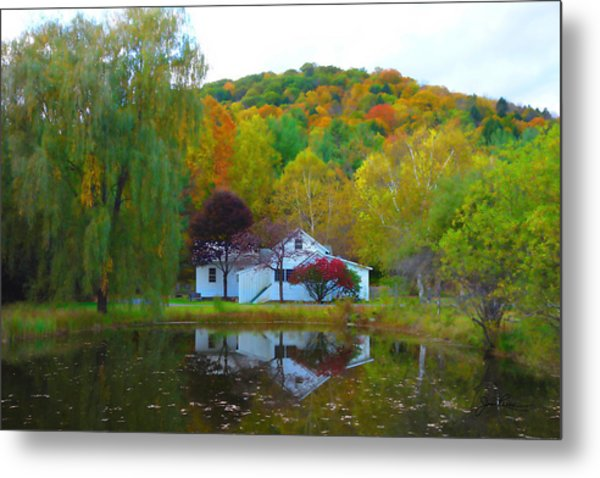 Vermont House In Full Autumn Metal Print
