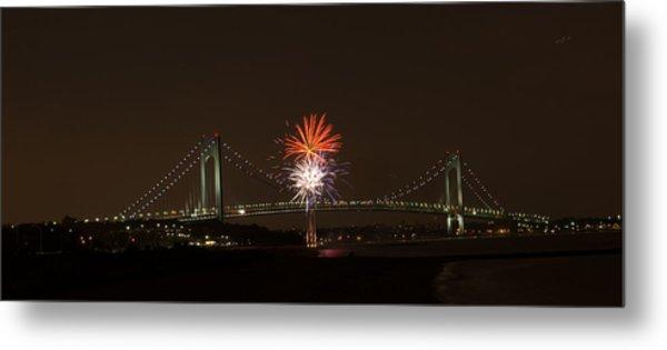 Verrazano Narrows Bridge Fireworks Metal Print