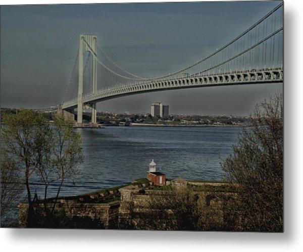 Verrazano Bridge And Fort Wadsworth Metal Print