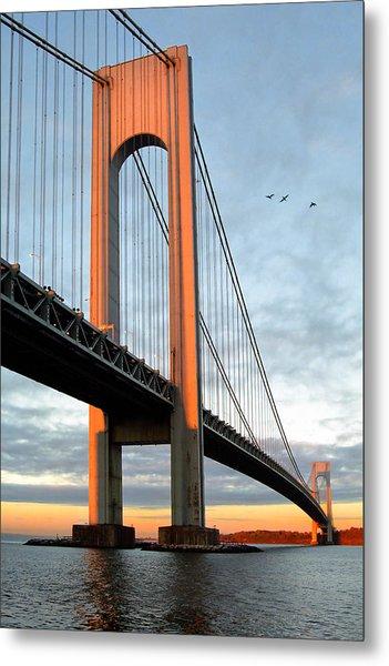 Metal Print featuring the photograph Verrazano Bridge At Sunrise - Verrazano Narrows by Gary Heller