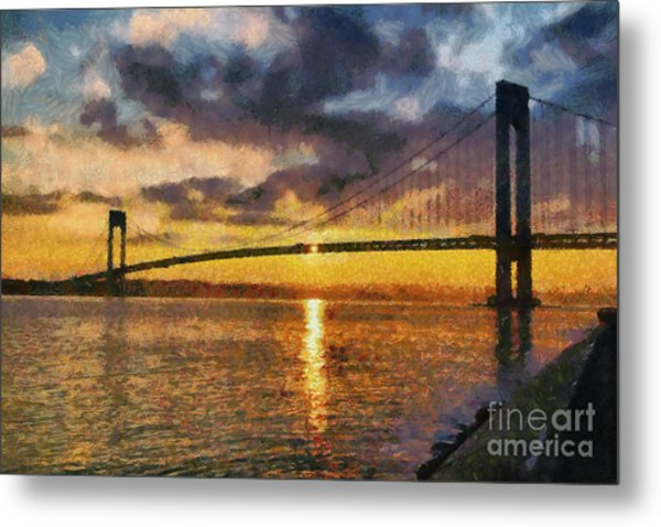 Verrazano Bridge During Sunset Metal Print