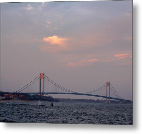 Verrazano Narrows Bridge At Sunset Metal Print
