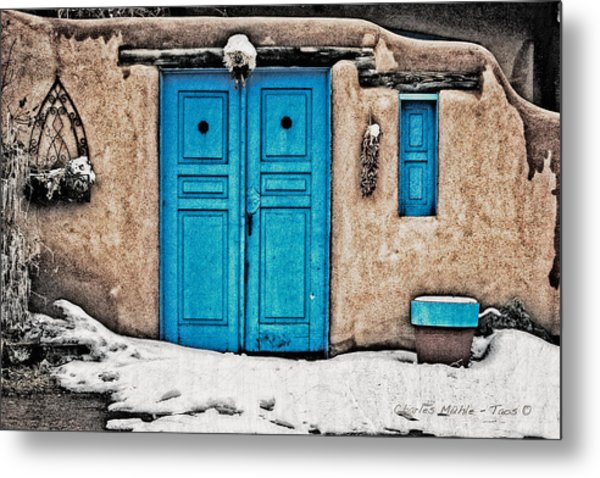 Very Blue Door Metal Print