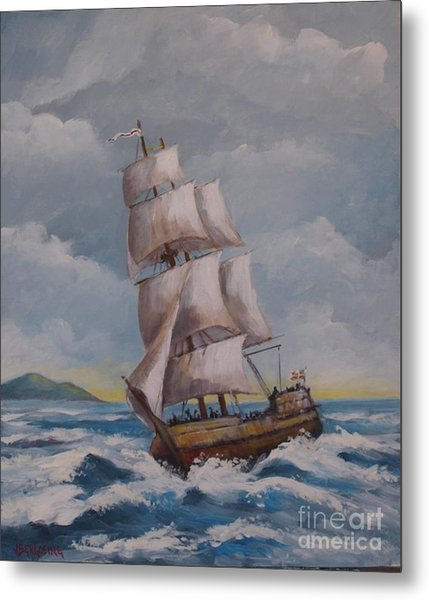 Vessel In The Sea Metal Print