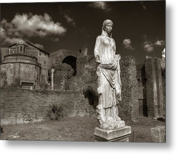 Vestal Virgin Courtyard Statue Metal Print