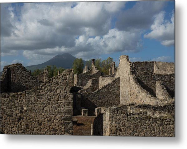 Vesuvius Towering Over The Pompeii Ruins Metal Print