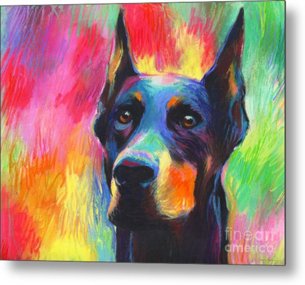 Vibrant Doberman Pincher Dog Painting Metal Print