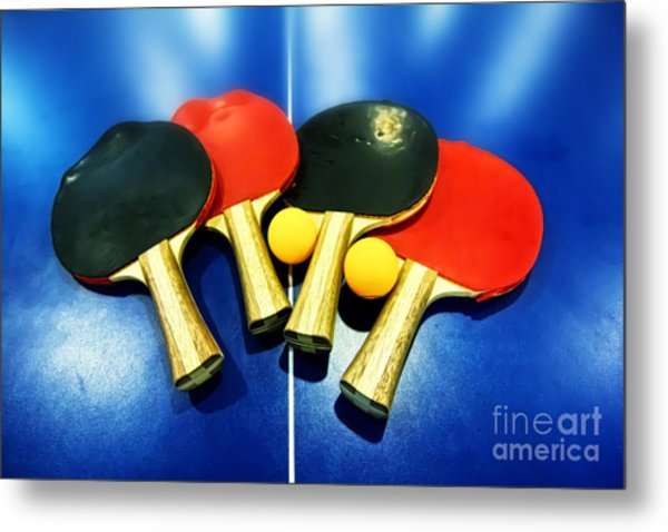 Vibrant Ping-pong Bats Table Tennis Paddles Rackets On Blue Metal Print