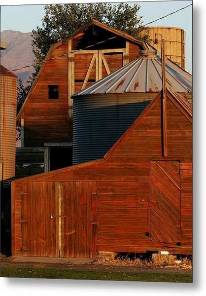 Vibrant Red Barn And Out-buildings Metal Print by Kirk Strickland