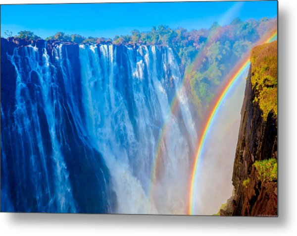 Victoria Falls Double Rainbow Metal Print