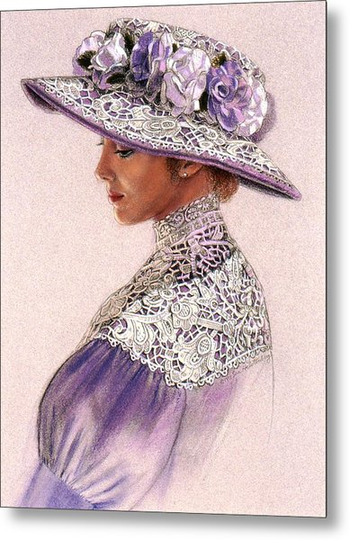 Victorian Lady In Lavender Lace Metal Print