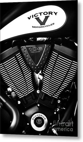 Victory Motorcycle Monochrome Metal Print