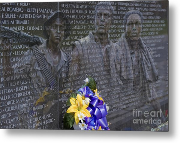Vietnam Veteran Wall And Three Soldiers Memorial Collage Washington Dc_2 Metal Print