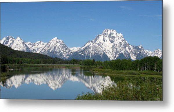 View At Oxbow Bend In Grand Tetons National Park Metal Print