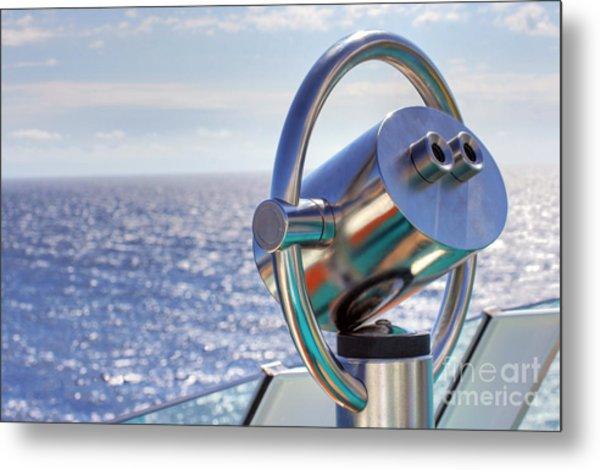 View From Binoculars At Cruise Ship Metal Print by Lars Ruecker