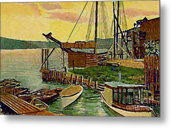 View From Boat Club In Middletown Ct Around 1910 Metal Print