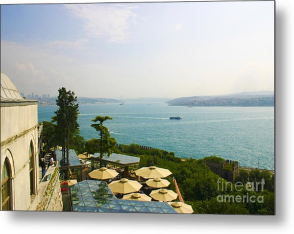 View From Konyali Restaurant To Bosphorus Bridge Connecting Europe And Asia Istanbul Turkey Metal Print by PIXELS  XPOSED Ralph A Ledergerber Photography