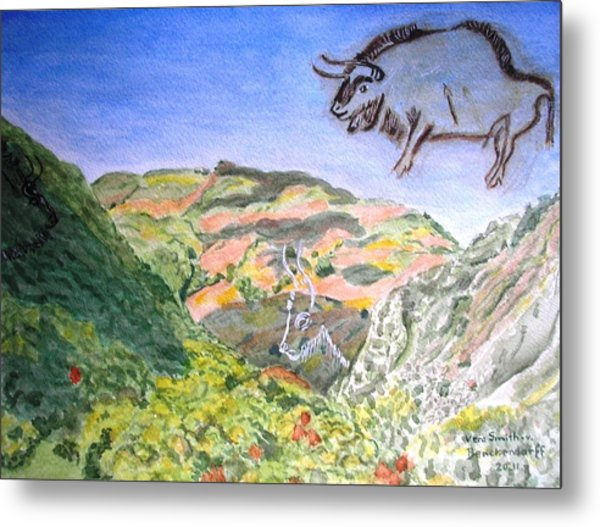 View From Niaux Cave In France Metal Print