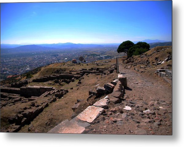 View From Pergamum Acropolis Metal Print by Jacqueline M Lewis