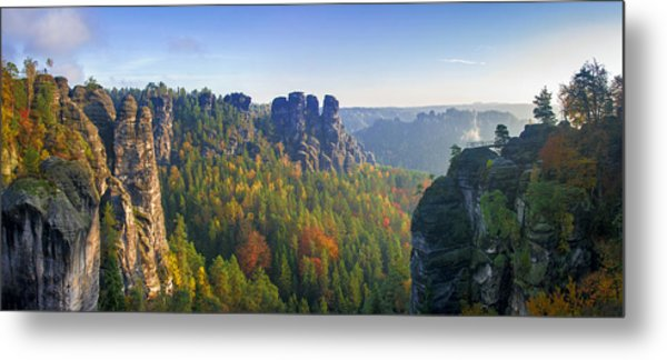 View From The Bastei Bridge In The Saxon Switzerland Metal Print