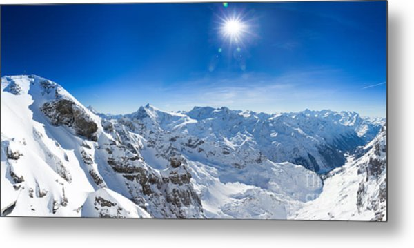 View From Titlis Mountain Towards The South Metal Print