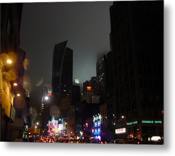 view of 8th Ave before New York Times building Metal Print