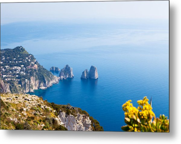 View Of Amalfi Coast Metal Print by Susan Schmitz