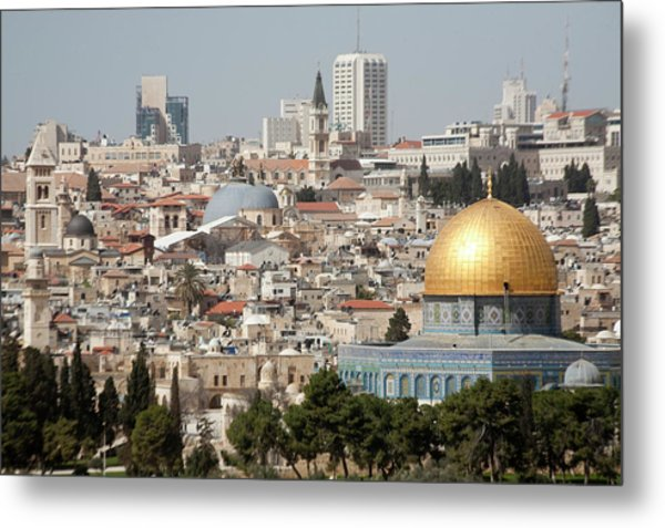 View Of Ancient Walled City Metal Print