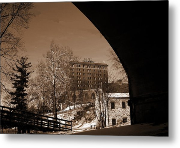 View Of Hotel Bethlehem From Colonial Industrial Quarter - Sepia Metal Print