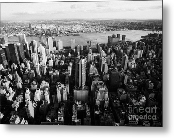 View Of Manhattan East River Looking Towards Queens New York City Usa Metal Print by Joe Fox
