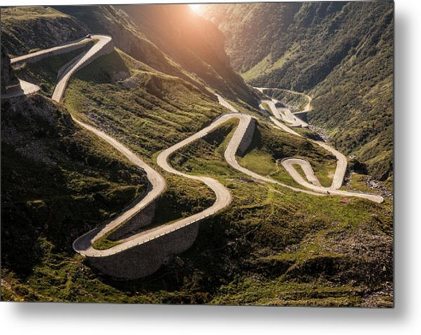 View Of Old Road To Gotthard Pass Metal Print by Walter Zerla