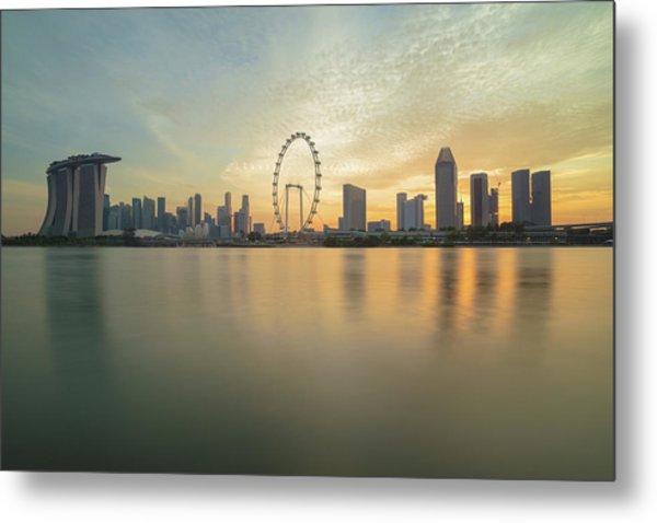 View Of Singapore Skyscraper Metal Print by Natthawat