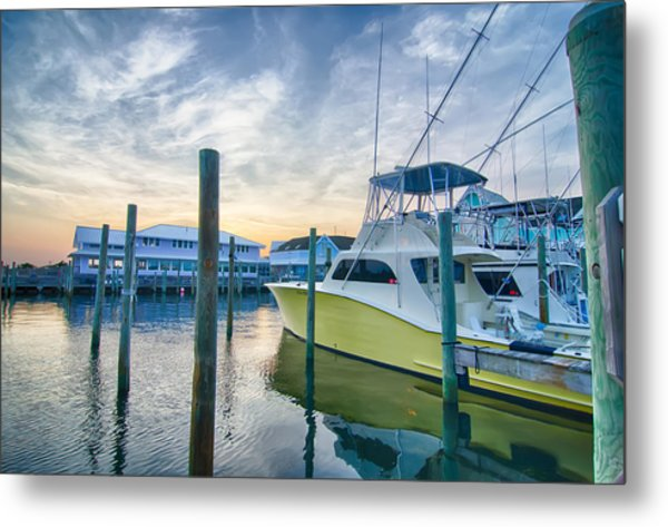 View Of Sportfishing Boats At Marina Metal Print