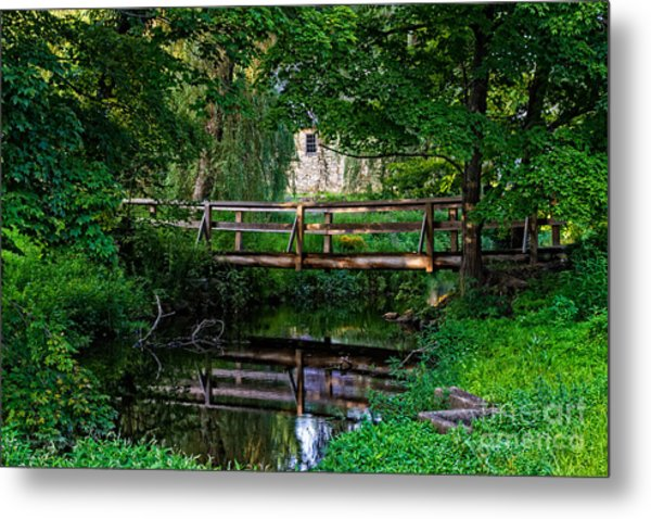View Of The Grist Mill At Waterloo Village Metal Print