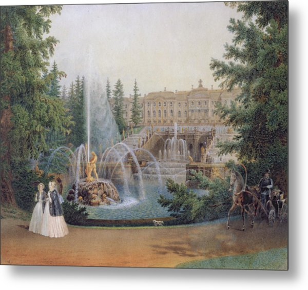 View Of The Marly Cascade From The Lower Garden Of The Peterhof Palace Metal Print