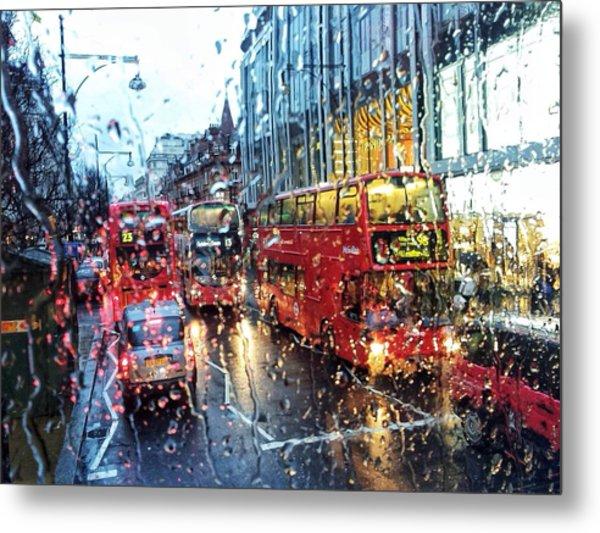 View Of Traffic Through Wet Window Metal Print by Silvia Michelucci / Eyeem