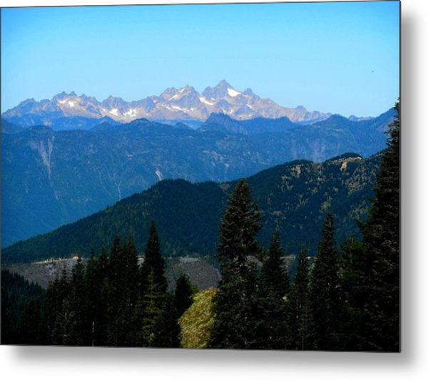 View Of Twin Sisters From Sauk Mountain Metal Print